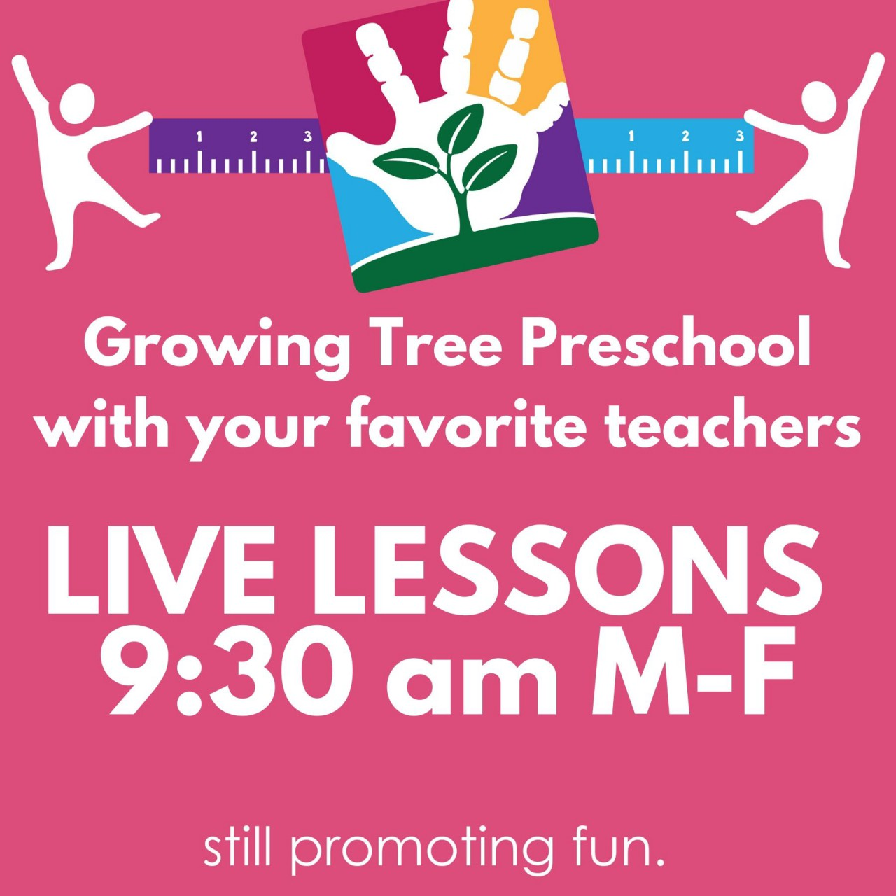 Visit Gurnee Park District's Facebook page every morning at 9:30 am for LIVE lessons with Growing Tree Preschool teachers.