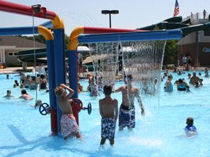 Interactive play area at Hunt Club Park Aquatic Center.